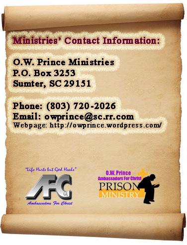 Contact Bishop O.W. Prince Contact Bishop Prince