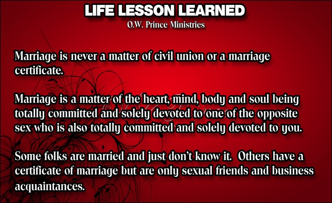 Life Lesson MARRIAGE IS